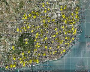Figura 1: Identificação e medição de terraços no município de Lisboa. 508 posições foram marcadas recorrendo ao software Google Earth.